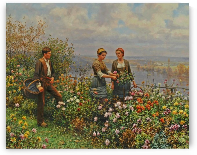People in the garden by Daniel Ridgway Knight