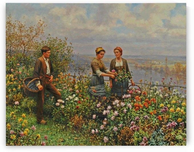 People in the garden by Daniel Ridgway Knight