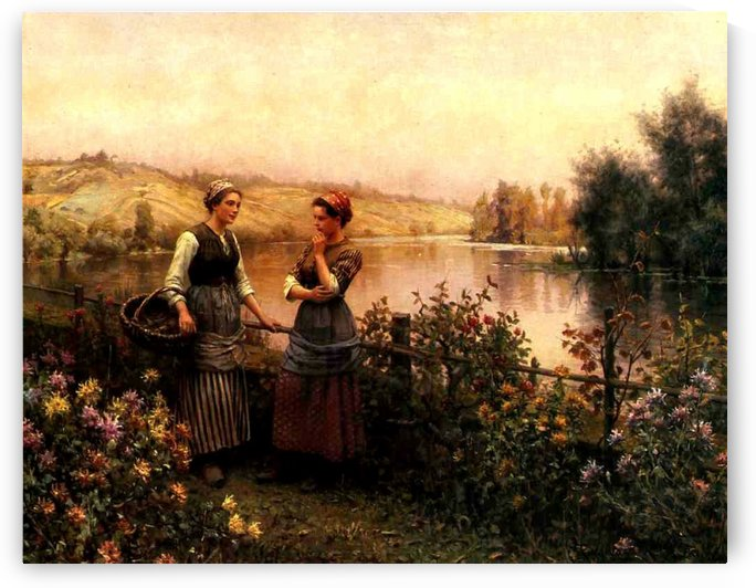 Stopping for conversation by Daniel Ridgway Knight
