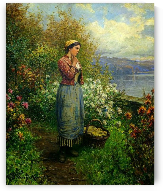 Girl with basket in the garden by Daniel Ridgway Knight