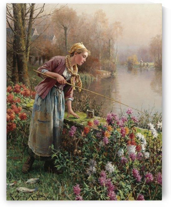 Girl fishing by Daniel Ridgway Knight