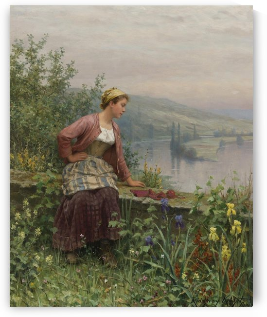 Brittany girl overlooking stream by Daniel Ridgway Knight