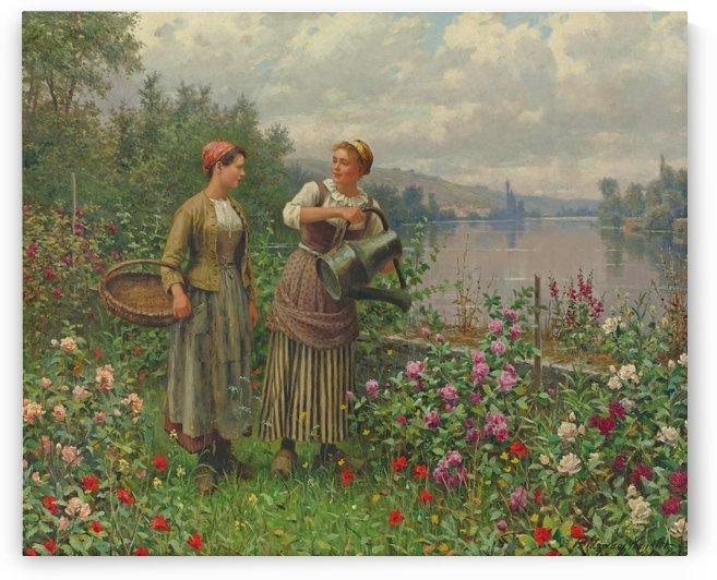 Girls watering the garden by Daniel Ridgway Knight