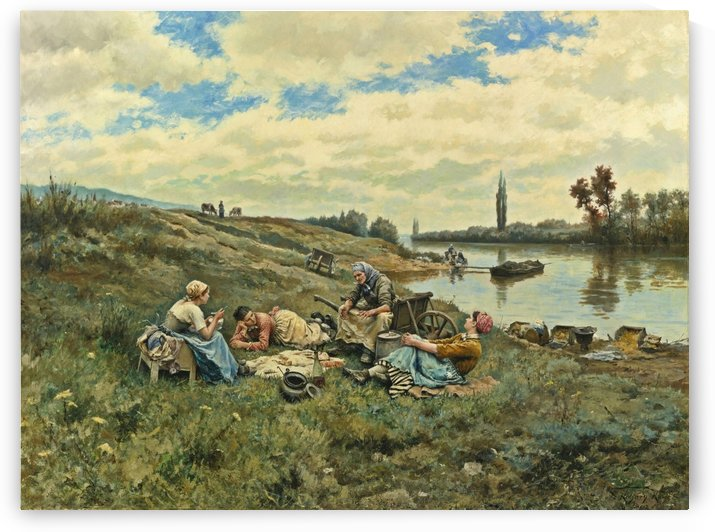 After lunch on the banks of the Seine by Daniel Ridgway Knight