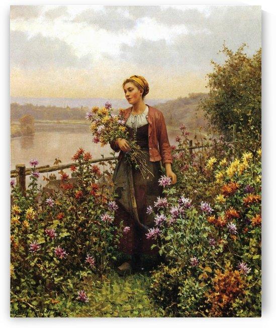 Woman in a garden by Daniel Ridgway Knight