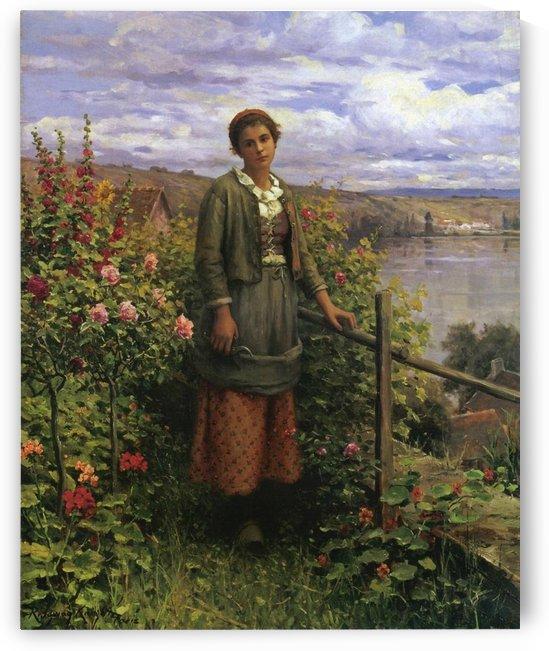In her garden by Daniel Ridgway Knight