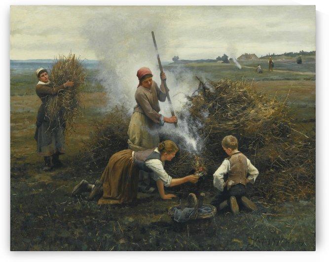 Burning brush by Daniel Ridgway Knight