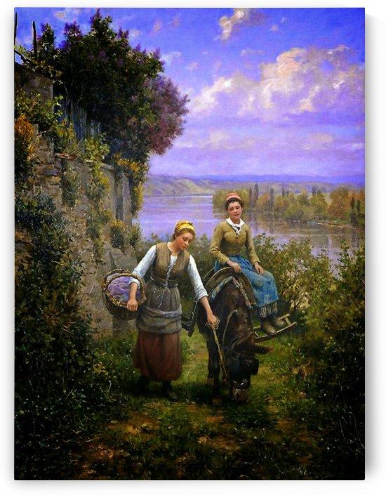 Walking to the garden by Daniel Ridgway Knight