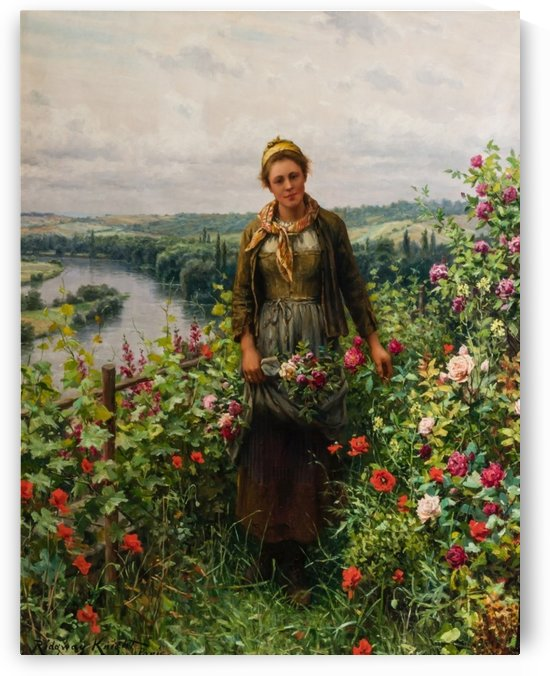 Peasant woman with a bundle of flowers by Daniel Ridgway Knight