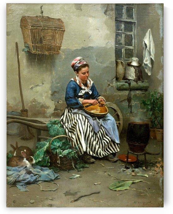 Preparing the meal by Daniel Ridgway Knight