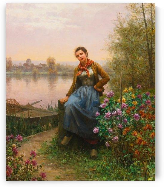 Woman on the stream near a boat by Daniel Ridgway Knight