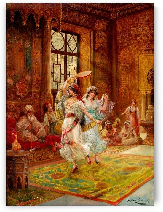Harem interior with dancing women by Stephan Sedlacek