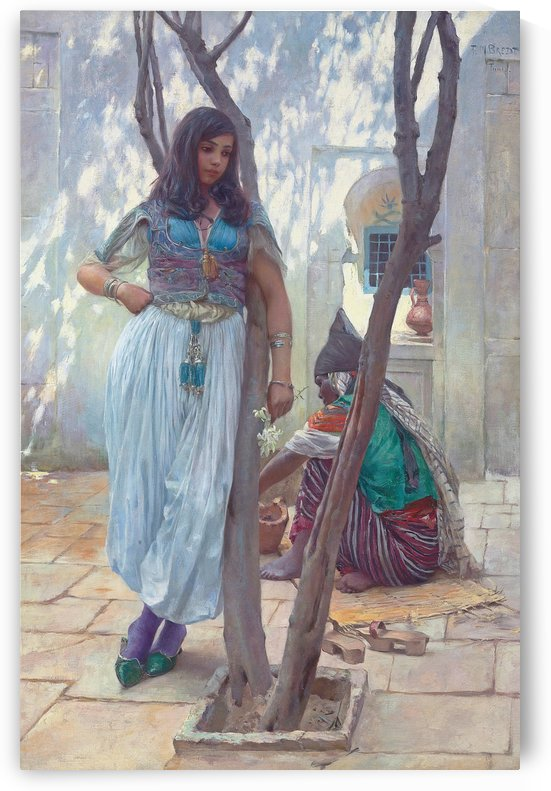 In a courtyard Tunis by Ferdinand Max Bredt