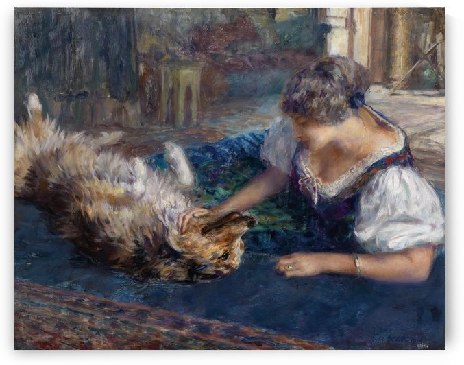 Lady playing with dog by Ferdinand Max Bredt