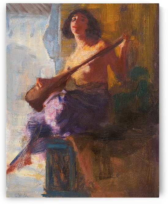 Girl with musical instrument by Ferdinand Max Bredt