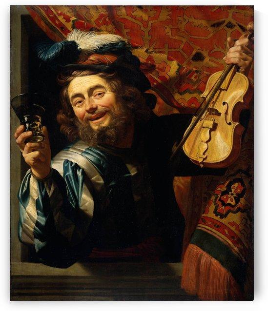 De vrolijke speelman by Gerard van Honthorst