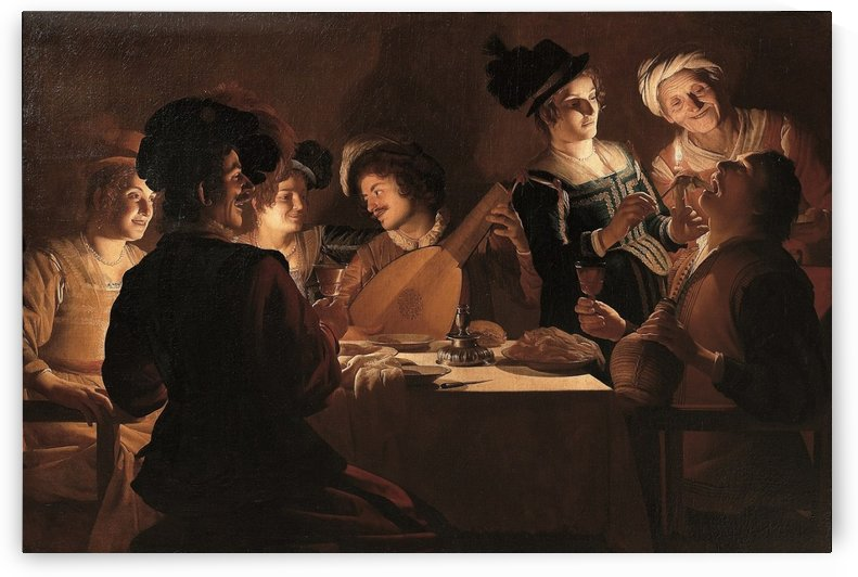 Dinner with lute player by Gerard van Honthorst