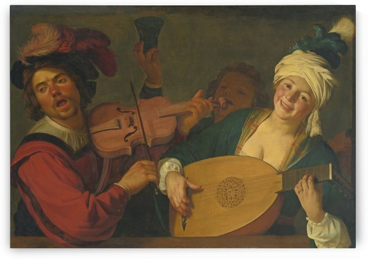 A merry group behind a balustrade with a violin and a lute player by Gerard van Honthorst