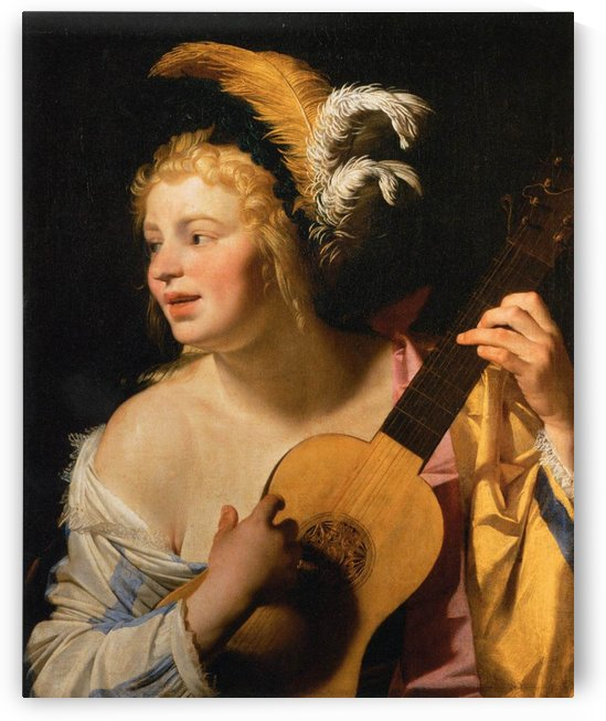 Woman playing the guitar by Gerard van Honthorst