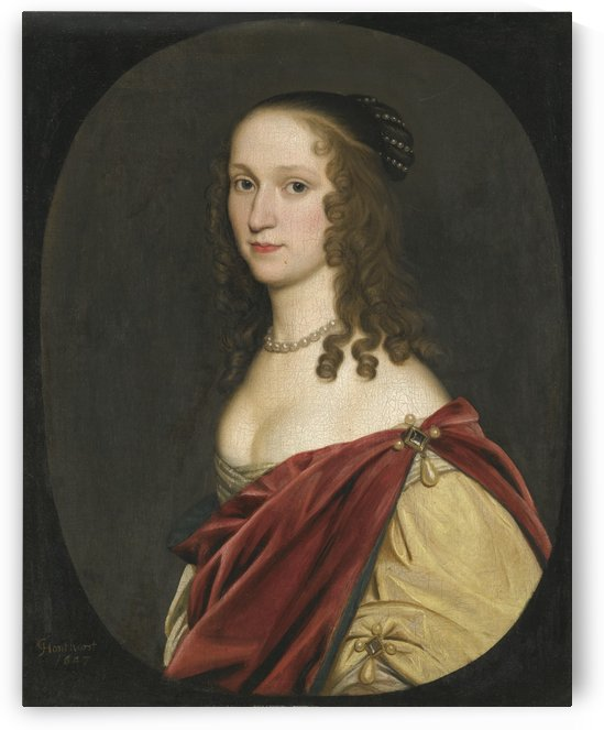 Portrait of a lady half length wearing a red cloak by Gerard van Honthorst