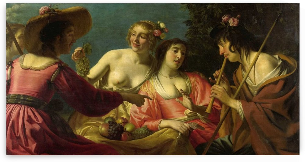 Flute playing shepherd and four nymphs by Gerard van Honthorst