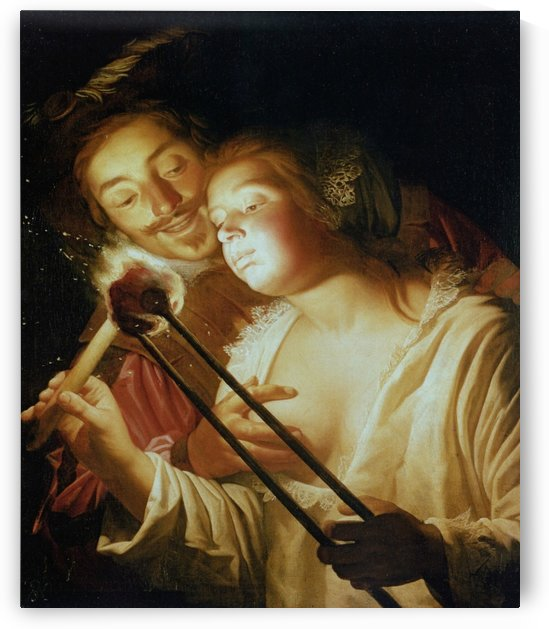 The soldier and the girl by Gerard van Honthorst