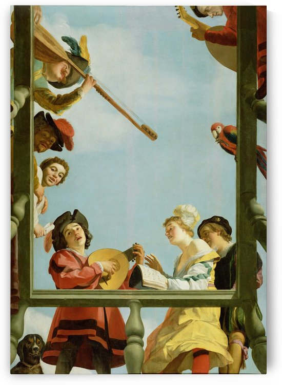 Musical group on a balcony by Gerard van Honthorst