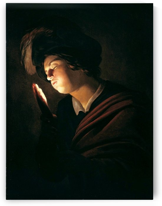 Boy blowing on an ember by Gerard van Honthorst