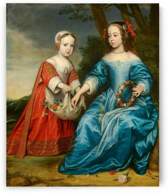 Portrait of prince Willem III of Orange and his aunt Maria of Nassau as children, 1653 by Gerard van Honthorst