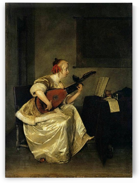The lute player by Gerard van Honthorst