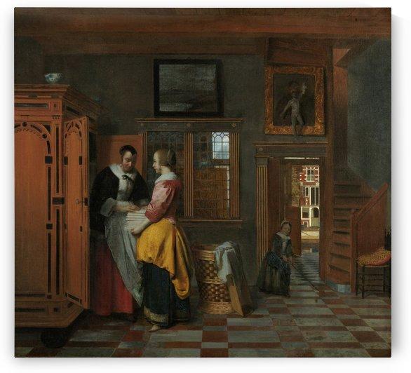 At the Linen Closet by Pieter de Hooch