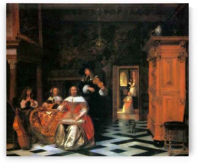 Family portrait in an opulent interior, 1663 by Pieter de Hooch