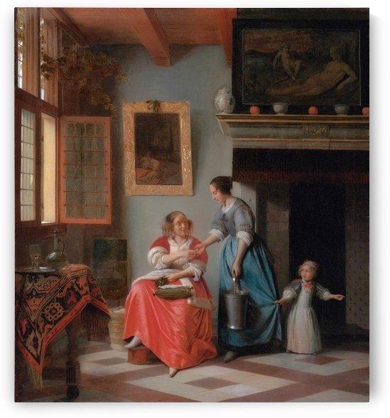 Woman hands over money to her servant by Pieter de Hooch