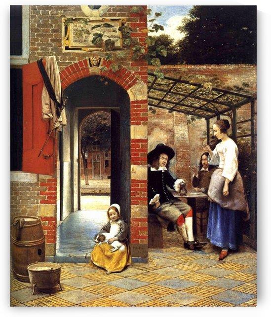 Figures drinking in a courtyard by Pieter de Hooch