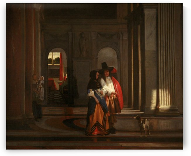 Going for a walk in the Amsterdam Town Hall by Pieter de Hooch
