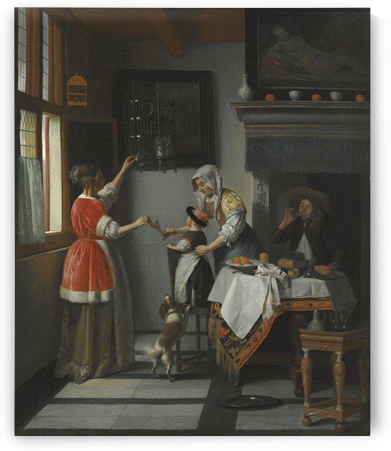 Interior with a child feeding a parrot by Pieter de Hooch