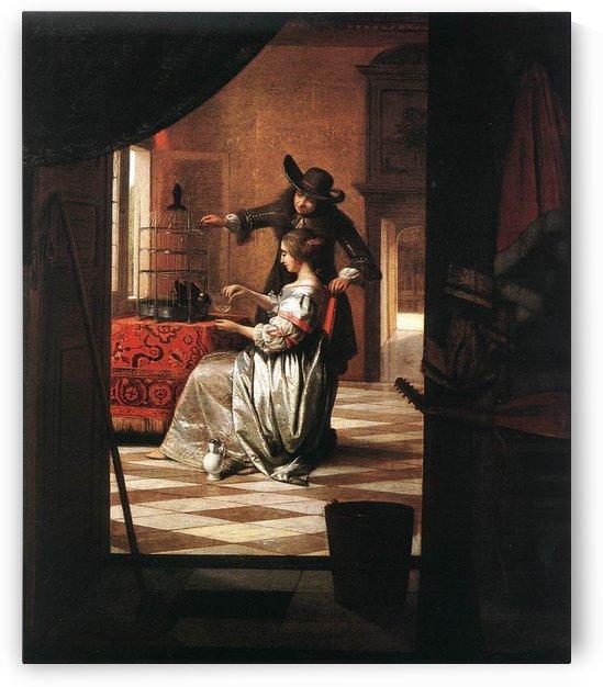Couple with parrot by Pieter de Hooch