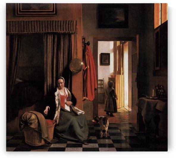 Mother lacing her bodice beside a cradle by Pieter de Hooch