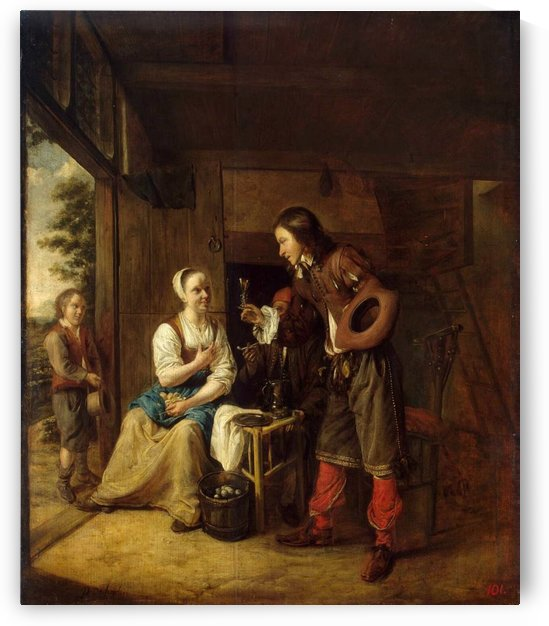 Man offering a glass of wine to a woman by Pieter de Hooch