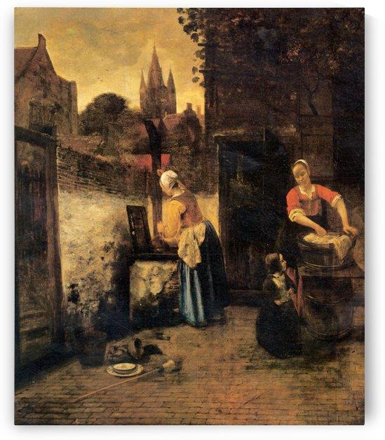 Two women with child in courtyard by Pieter de Hooch