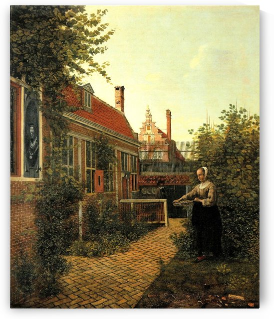 Woman with basket of beans in the kitchen garden by Pieter de Hooch