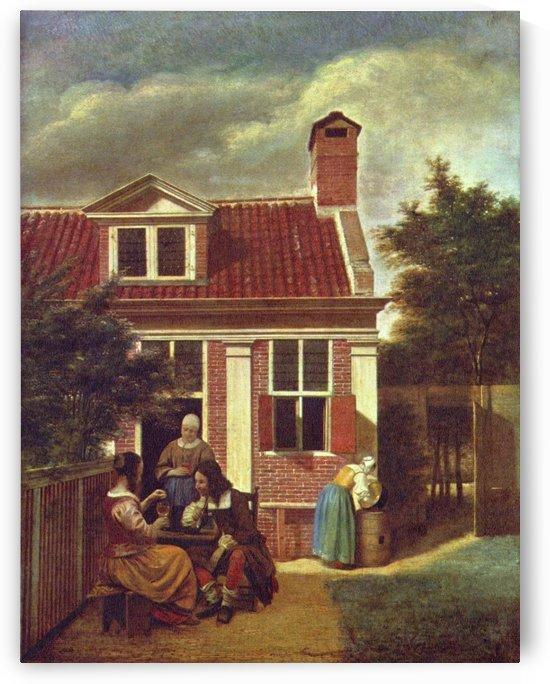 Figures in a courtyard behind a house by Pieter de Hooch