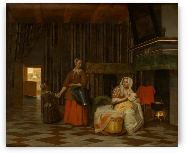 Woman and child with serving maid by Pieter de Hooch