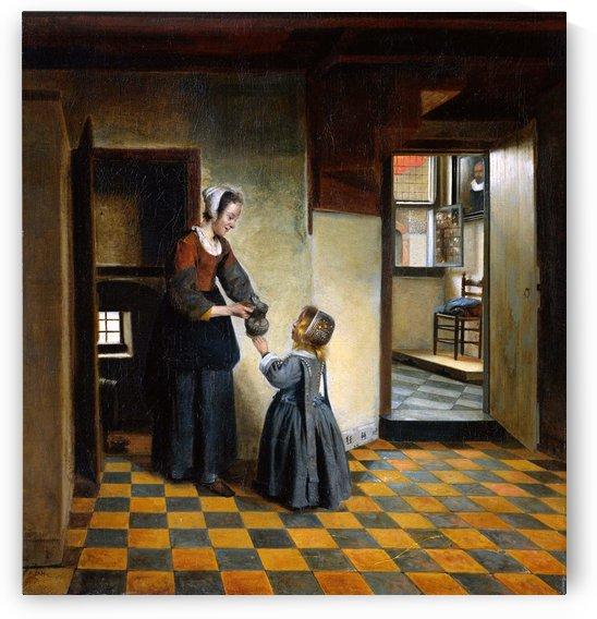 Woman and child Sun by Pieter de Hooch