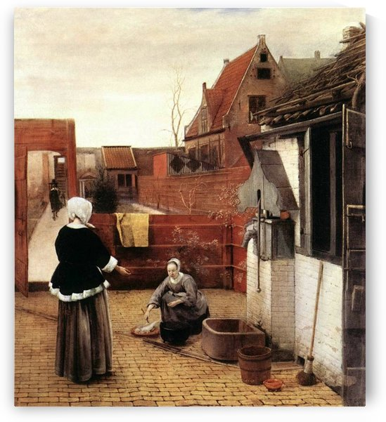 Woman and maid in a courtyard by Pieter de Hooch