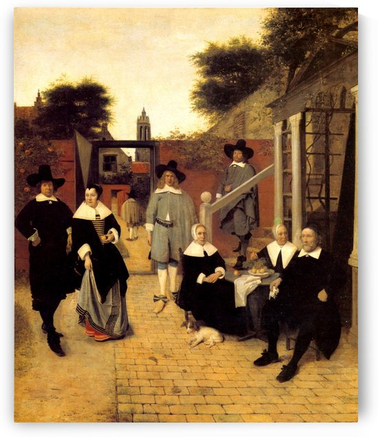 Group portrait of an unknown family by Pieter de Hooch