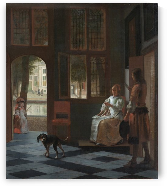 Man hands a letter to a woman in hall by Pieter de Hooch