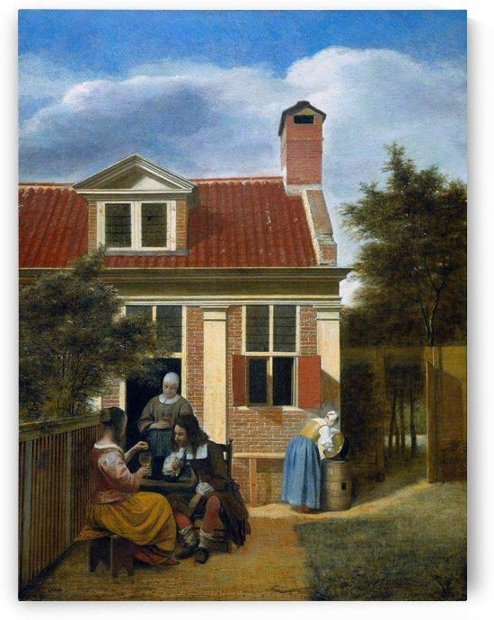 Company in garden by Pieter de Hooch