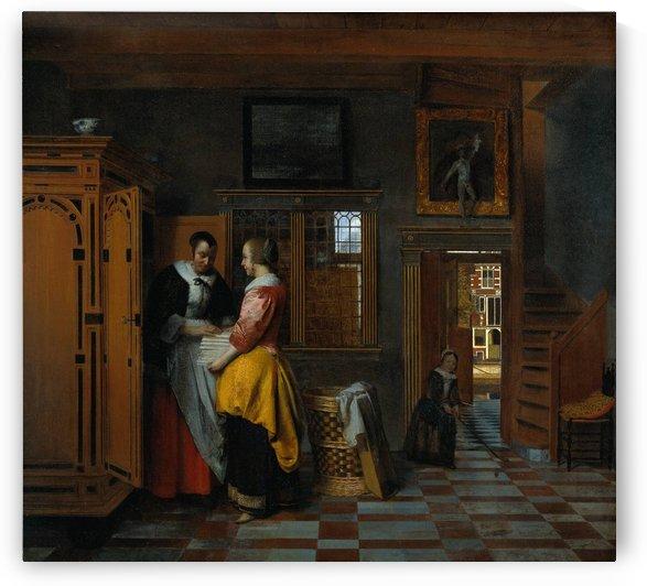 Interior with women beside a linen chest by Pieter de Hooch
