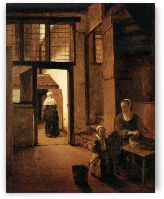 Girls washing clothes by Pieter de Hooch
